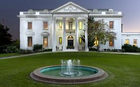 Картинка дизайн, газон, кусты, особняк, огни, вечер, Louisiana, дом, фонтан, США