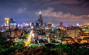 Картинка дорога, ночь, город, огни, здания, дома, небоскребы, подсветка, Тайвань, Taiwan, КНР, Китайская Республика, Гаосюн, Kaohsiung