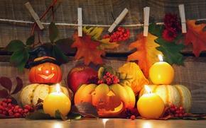 Картинка осень, листья, свечи, тыквы