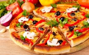 Картинка грибы, лук, пицца, помидоры, оливки, петрушка, шампиньоны, паприка