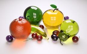 Обои яблоки, Стекло, апельсины, бананы, фрукты, сливы, груши, черешню