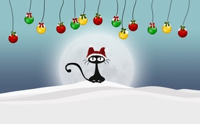 Картинка зима, кот, шарики, снег, новый год