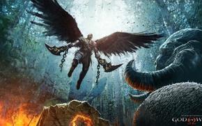 Картинка fire, flame, sword, logo, game, fighter, horns, armor, Kratos, God of War, wings, survivor, ken, …