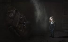 Обои девочка, мрак, обезьяны
