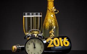 Обои 2016, happy, new year, golden, champagne, clock, новый год