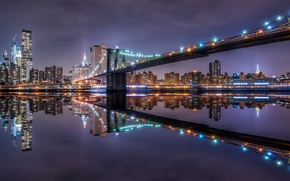 Картинка ночь, город, Brooklyn Bridge