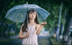 Картинка зонтик, девушка, рука, лицо, восточная, дождь, капли