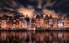 Картинка свет, город, дома, вечер, Амстердам, Нидерланды