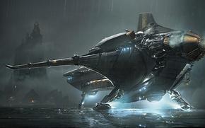 Картинка корабль, планета, посадка, звездолет, Star Citizen