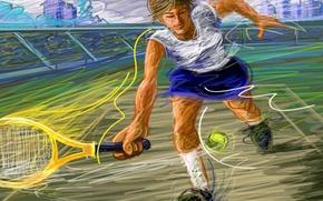 Картинка рисунок, мяч, вектор, ракетка, удар, стадион, теннис, корт, штрих