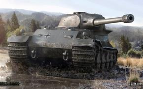 Обои пейзаж, VK 72.01 (K), лес, танк, грязь, World of Tanks, тяжелый, деревья, немецкий, лужа