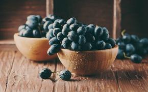 Обои капли, мокрый, ягоды, стол, еда, виноград