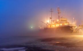 Картинка туман, корабль, порт, лёд, огни