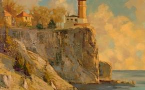 Картинка море, маяк, живопись, картина маслом