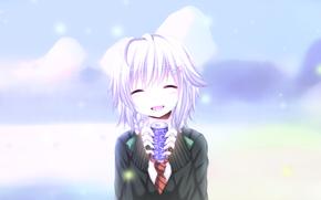 Картинка девушка, снег, аниме, улыбается, Милая