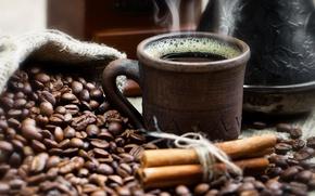 Картинка кофе, чашка, напиток, корица, зёрна, дымок, мешочек, джезва