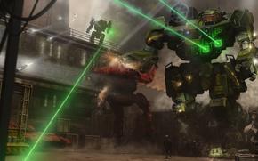Картинка лазер, оружие, арт, солдаты, Mechwarrior Online, база, выстрелы, роботы, гигантские