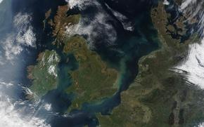 Картинка море, пролив, земля, берег, вид, контур, франция, европа, великобритания, ирландия, дания