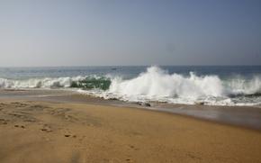 Картинка море, волна, пляж, фон, природа, обои, пена