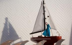 Картинка волны, девушка, корабль, парусник