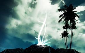 Обои небо, пейзаж, пальмы, серый