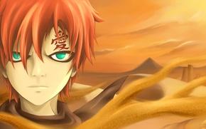 Картинка песок, пустыня, аниме, арт, наруто, Gaara