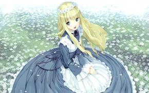 Картинка девочка, венок, art, фартук, alice in wonderland, голубое платье, цветник, ueda ryou