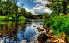 Картинка трава, пейзаж, природа, HDR, Bolton, Wharfe, река Англия