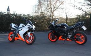 Картинка белый, чёрный, мотоциклы, white, black, yamaha, ямаха, supersport, bikes, yzf-r1