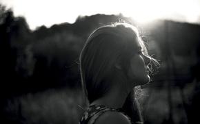 Картинка девушка, волосы, профиль, черно-белое