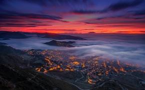 Картинка облака, туман, вечер, долина, Испания, Каталония, Берга