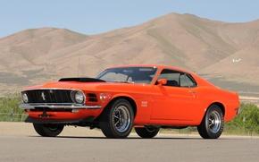 Картинка небо, горы, оранжевый, Mustang, Ford, Форд, Мустанг, мускул кар, классика, 1970, передок, Boss, Muscle car, …