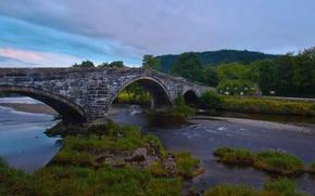 Картинка мост, Англия, England, Уэльс, Wales, Llanrwst Bridge, Tu Hwnt I'r Bont, River Conwy, река Конуи