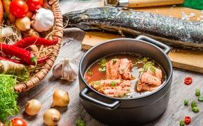Картинка рыба, овощи, fish, уха, vegetables, щука, первое блюдо, the first dish, fish soup, pike