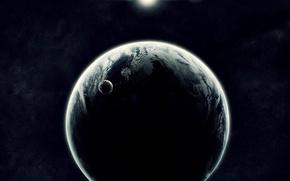 Обои солнце, спутник, Планеты