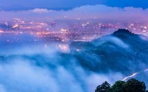 Картинка освещение, Тайбэй, город, огни, вечер, дымка, сумерки, Taiwan, Тайвань, высота, облака, туман, деревья, панорама, вид, …