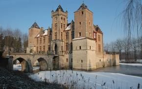 Картинка Blue Sky, Winter, Belgium, Castle, Ice, Bruges, Tillegem
