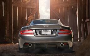 Картинка трубы, Aston Martin, фары, DBS, сарай, supercar, бампер, photography, Nikita Nike, выхлопные