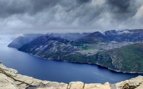 Картинка горы, тучи, река, скалы, Пейзажи, фьорд