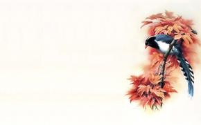 Картинка минимализм, ветка, арт, живопись, Восток, мастер, птица, осень