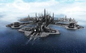 Обои звездные врата, океан, atlantis, stargate, город, атлантида