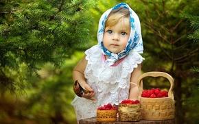 Картинка Лес, Ягоды, Girl, Ель, Глаза, Девочка, Ложка, Raspberries, Eyes, Малина, Ёлки, Child, Forest, Trees, Berries, …