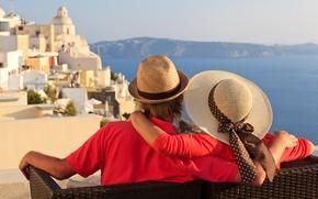 Картинка море, лето, отдых, Санторини, пара, двое