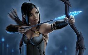 Картинка девушка, лук, лучница, арт, стрела, эльфийка, фЭнтези