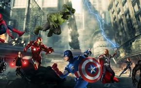 Картинка thor, hulk, spider man, iron man, captain america:civil war