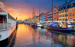 Картинка лодка, корабль, дома, Дания, канал, Копенгаген