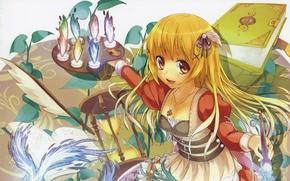 Картинка перо, волшебство, магия, девочка, кулон, книга, палитра, кисть, длинные волосы, художница, песочные часы, большие глаза