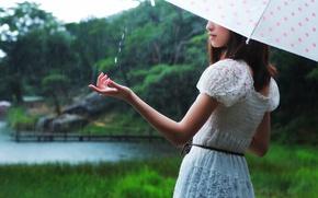 Картинка зонт, дождь, девушка