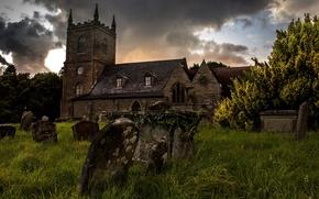 Картинка трава, замок, кладбище, надгробия, мрачно, обои от lolita777