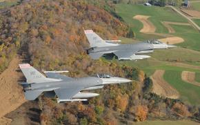 Картинка небо, Висконсин, США, полёт, Falcons, Fighting, самолёты, F-16C, штат, тренировочный